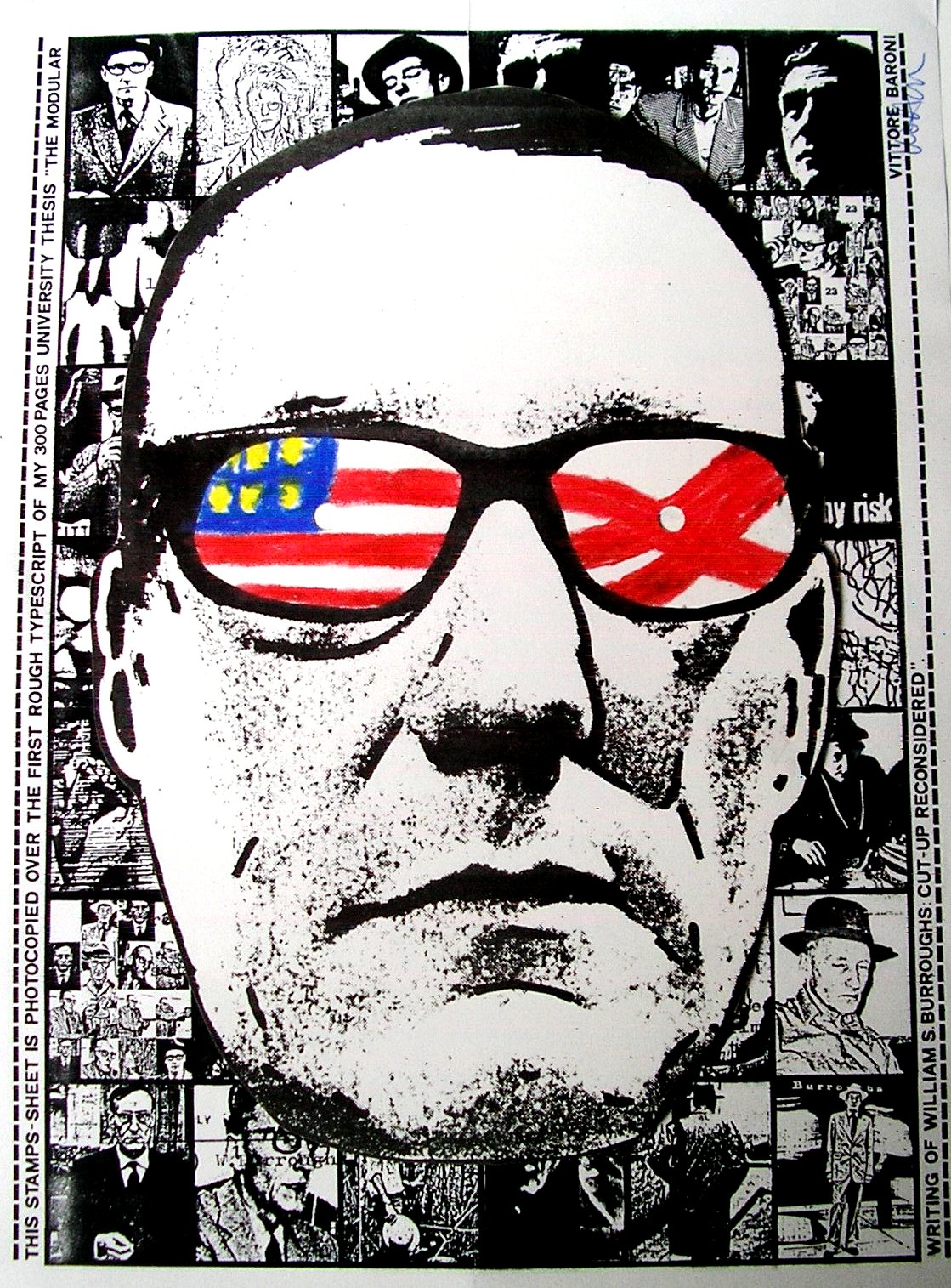 William S.Burroughs - Maschera e francobolli da TRAX The Brain Factory, di Vittore Baroni