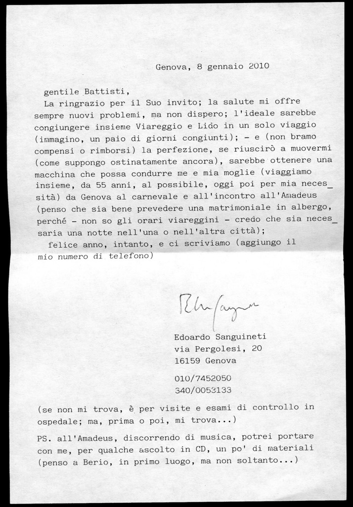 Lettera di Sanguineti in risposta a Battisti